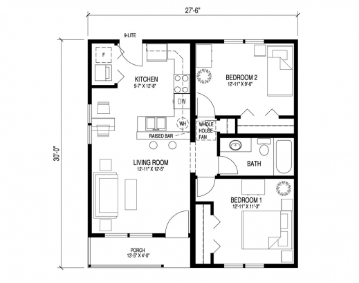 Simple floor plan of a bungalow house house floor plans for Plan bungalow 1 chambre