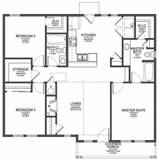 Gorgeous Floor Plan For Small 1200 Sf House With 3 Bedrooms And 2 Three Bedroom House Plan Photo
