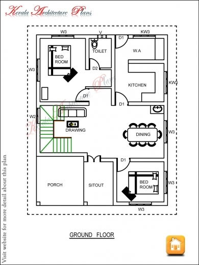 Gorgeous Three Bedroom House Plan Architecture Kerala Kerala House Plans Image