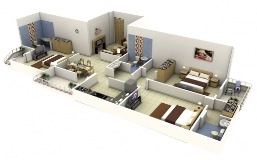 Outstanding 3d Open Floor Plan 3 Bedroom 2 Bathroom Google