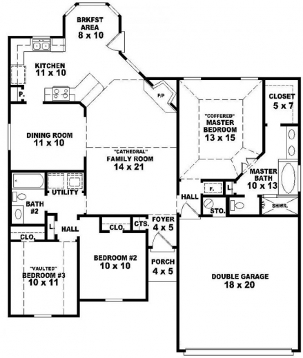 Incredible 3 Bedroom 2 Bath Open House Plans Arts 4 One Story Hr36057 Planskill Open Plan 3 Bedrooms Image