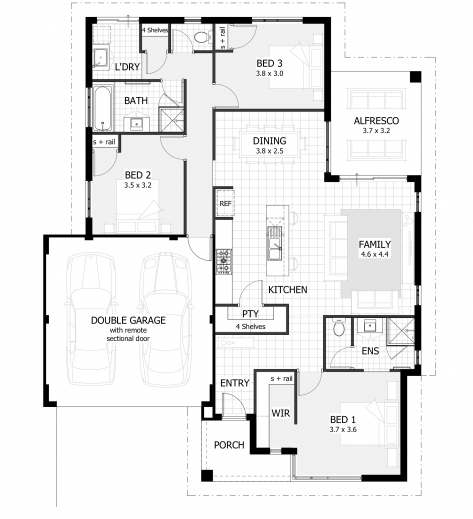 ... Incredible 3 Bedroom House Plans Home Designs Celebration Homes Three  Bedroom House Plan Pics ...