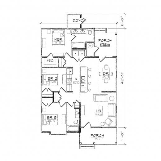 Incredible Carson Ii Bungalow Floor Plan Tightlines Designs Simple Floor Plan Of A Bungalow House Pic