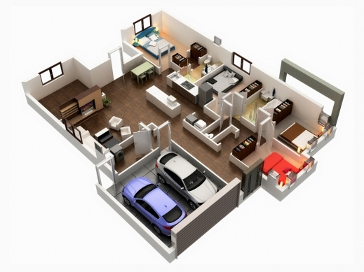 Incredible Gorgeous 3d Floor Plans Home Design 5 Bedroom 3D House Plans Images
