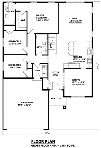 Simple floor plan of a bungalow house house floor plans for Layout design of bungalows