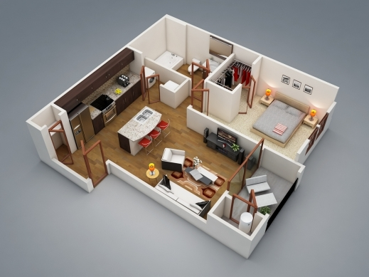 Inspiring 50 One 1 Bedroom Apartmenthouse Plans House Plans Bedroom 1 Room Plan Images