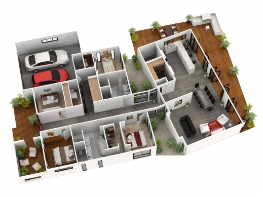 Inspiring Single Story 5 Bedroom House Floor Plans 3d Cubtab 5 Bedroom 3D House Plans Images