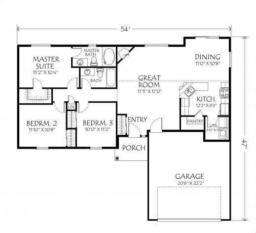 Inspiring Singlestoryopenfloorplans Single Story Plan 3 Bedrooms 2 One Room Bungalow Floor Plans Images Picture