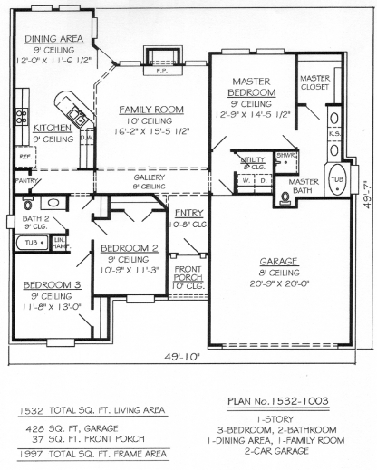 Marvelous 2 Bedroom And Bathroom House Plans 3 Br Bath: single story floor plans with 3 car garage