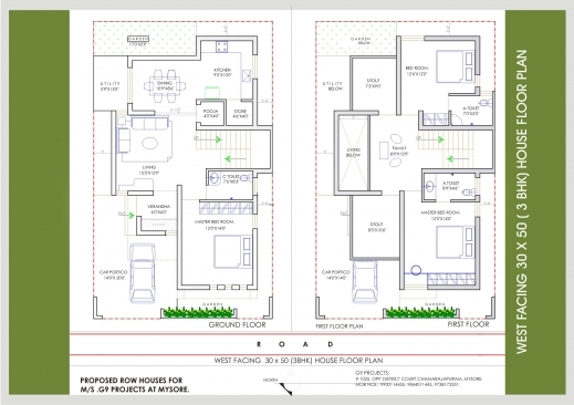 Inspiring Upcoming Residential Villas Beml Mysore One 30×50 3 Bhk House Plan Pictures