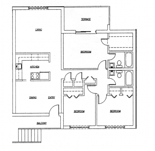 Marvelous 2 bedroom and bathroom house plans 3 br bath for Three bedroom cabin plans