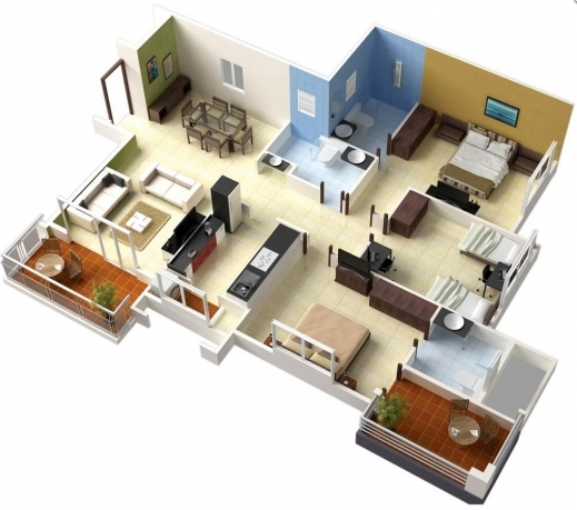 Marvelous 25 More 3 Bedroom 3d Floor Plans Home And Designs Small Three Plans For Small 3 Bedroomed Houses 3D Photo