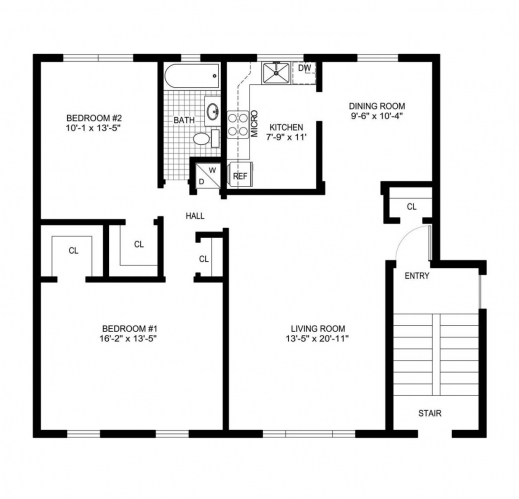 Simple house floor plan with measurements house floor plans for Blueprint of a house with measurements