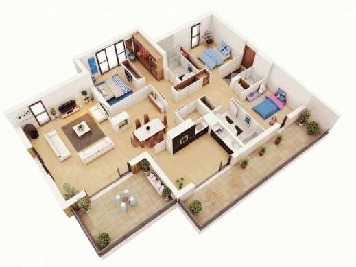 Outstanding 13 More 3 Bedroom 3d Floor Plans Amazing Architecture Magazine Building Plans For Three Bedroom House Three D Images