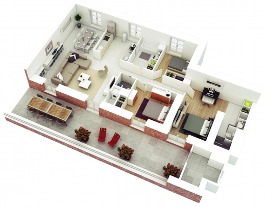 Outstanding 25 More 3 Bedroom 3d Floor Plans Bungalow House Without Garage Plans For Small 3 Bedroomed Houses 3D Images