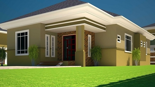 3d 3 Bedroom Bungalow Plan On Half Plot - House Floor Plans