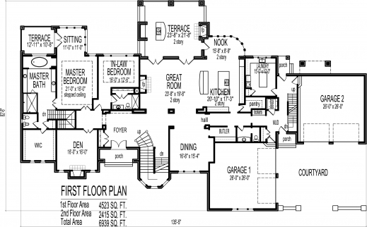 Outstanding mansion house floor plans blueprints 6 bedroom for 10000 square foot home plans