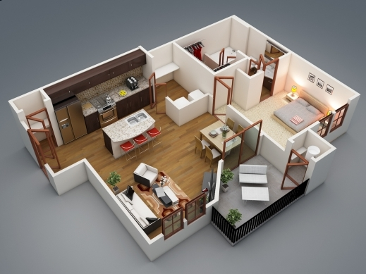 Remarkable 17 Best Ideas About One Bedroom Apartments On Pinterest Bedroom 1 Room Plan Picture