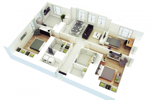 Remarkable 25 More 3 Bedroom 3d Floor Plans 4 Bedroom House House And Places Building Plans For Three Bedroom House Three D Images