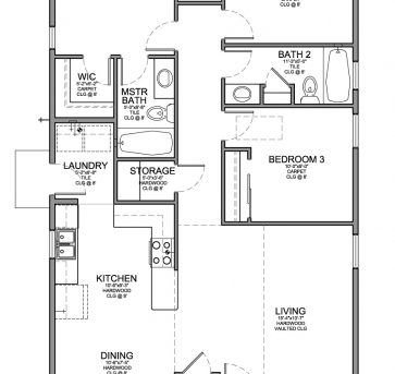 Remarkable Floor Plan For A Small House 1150 Sf With 3 Bedrooms And 2 Baths Small 3 Bedroom 2 Bath House Plans Pic