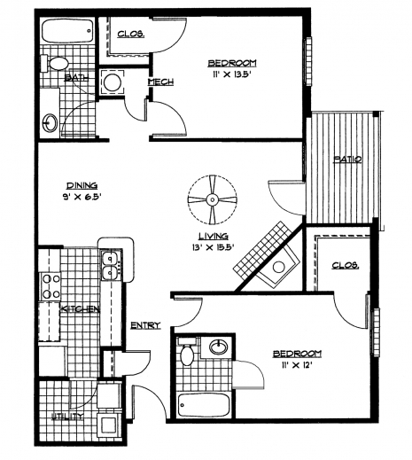 Unique 2 bedroom house plans house floor plans for Unique 2 bedroom house plans