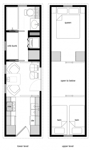 Stylish Family Tiny House Design 20 Ft Floor Plans Planskill 8 By 20 Floor Plan Photos