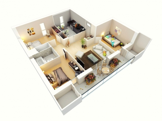 Stylish Free 3 Bedrooms House Design And Lay Out Plans For Small 3 Bedroomed Houses 3D Pic