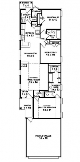 Narrow lot home plan house floor plans - Narrow house plan paint ...