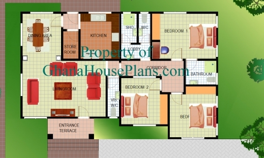 Stylish Home Plans In Nigeria 3 Bedroom Detached Ghana Plan Images