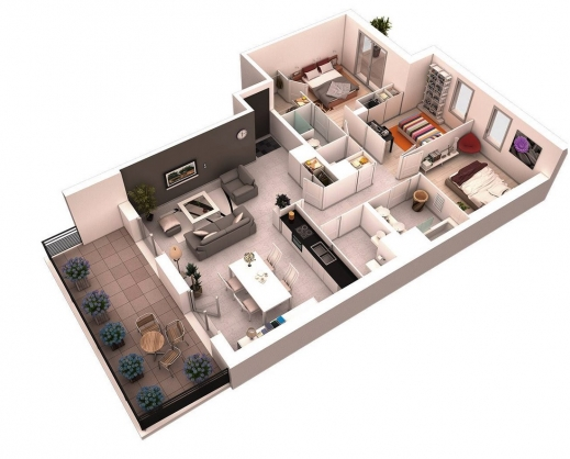 Wonderful 25 More 3 Bedroom 3d Floor Plans Design Cases And House Building Plans For Three Bedroom House Three D Images