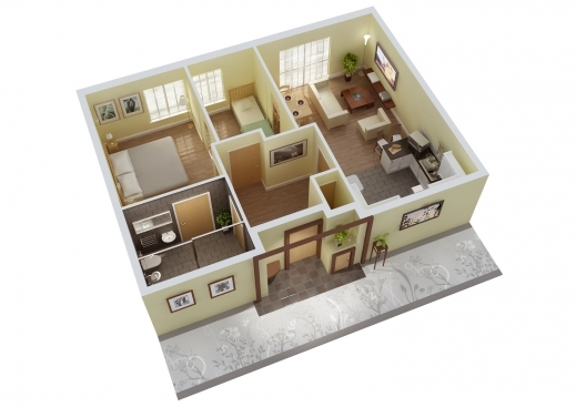 Wonderful 3 Bedroom House Plans 3d Design Artdream Planskill 3d 3 Bedroom House Plans With Photos Image
