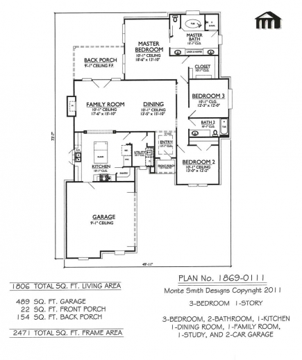 Amazing 1 story 3 bedroom 2 bathroom 1 kitchen 1 dining for Two story living room house plans