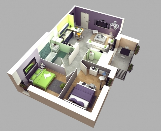 Amazing 50 Two 2 Bedroom Apartmenthouse Plans House Plans Bedroom 4 Room House Planning 3D Pic
