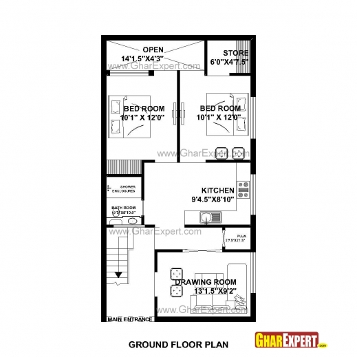 Amazing House Plan For 23 Feet 45 Feet Plot Plot Size 115square Yards Small House Plan With Size Photos