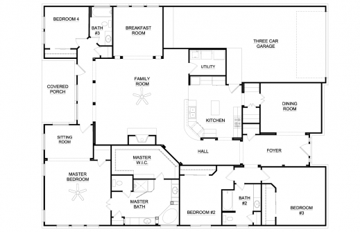 Amazing Incredible Amazing Single Story Floor Plans One Story House Plans Plans Of 4 Bedroomed Single Storey Houses Pics
