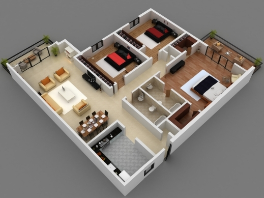 Awesome 25 More 3 Bedroom 3d Floor Plans 1000 Sq Ft House Small Three 4 Room House Planning 3D Images