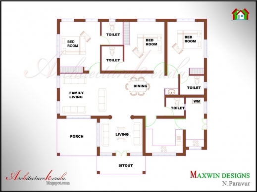Awesome 3 Bhk Single Floor Kerala House Plan And Elevation Architecture Kerala Single Story House Plans Photo