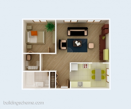 Awesome Good 3d Building Scheme And Floor Plans Ideas For House And Office Plan Of A House One Sitting Room And One Bedroom Photo