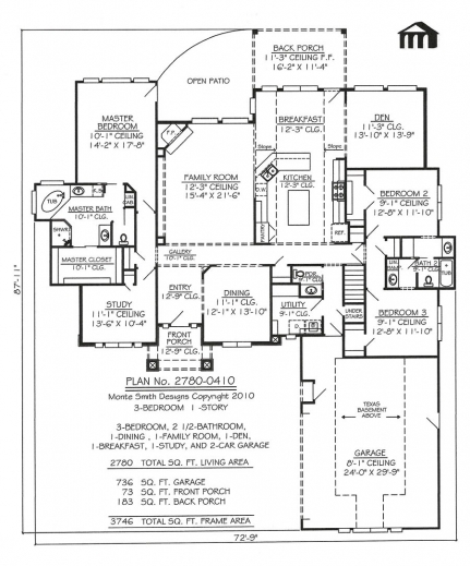 Best 1 Story 3 Bedroom 2 12 Bathroom 1 Dining Room 1 Family Room Plan For A House That Have One Dining Room And One Bedroom Picture