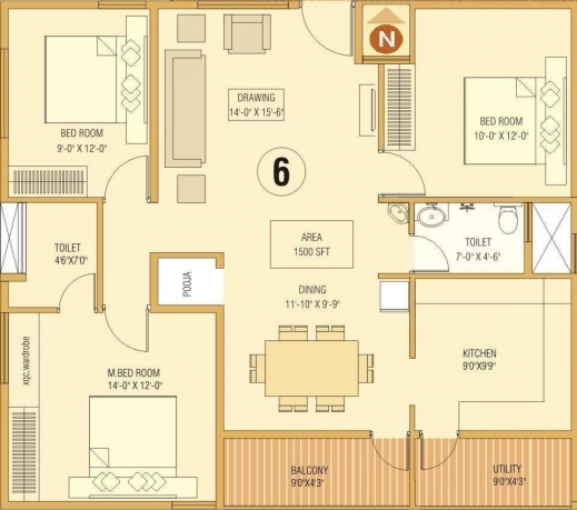 Best 1500 Sq Ft 3 Bhk 2t Apartment For Sale In Dream Home Builders And 3 Bedroom House Plans With Pooja Room Image
