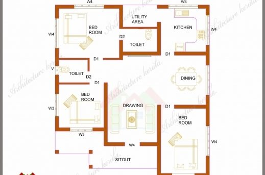 Best Three Bedrooms In 1200 Square Feet Kerala House Plan 3 Bedroom House Plans With Photos In Kerala Pics