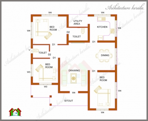 Best three bedrooms in 1200 square feet kerala house plan for House plans images gallery
