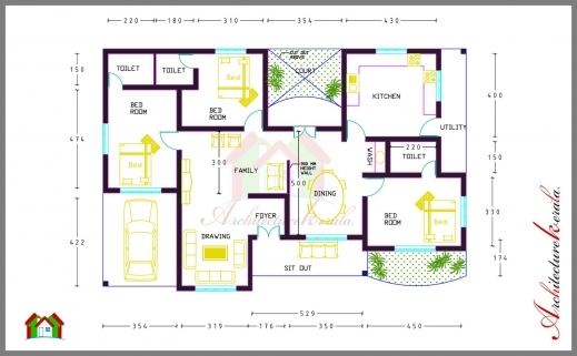 Fantastic 3 Bed Room House Plan With Room Dimensions Architecture Kerala Architecture Home Plan With Dimansion Pictures