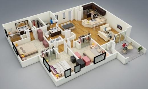 Fantastic Resultado De Imagen Para Maquetas De Casas Con 4 Cuartos Maketas 4 Bedroom House Plan 3D Pics