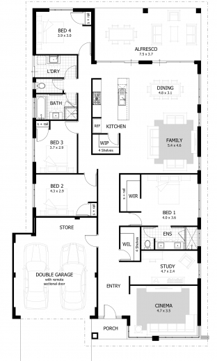 Fascinating 4 Bedroom House Designs Plans Of 4 Bedroomed Single Storey Houses Images