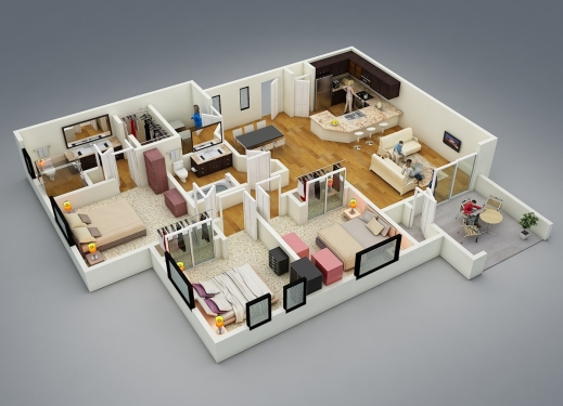 Fascinating 50 Four 4 Bedroom Apartmenthouse Plans Toilets In The Corner 4 Room House Planning 3D Picture