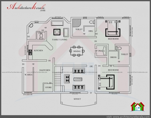 Fascinating Contemporary Style House Plan And Elevation Architecture Kerala 3 Bedroom House Plans With Pooja Room Pic