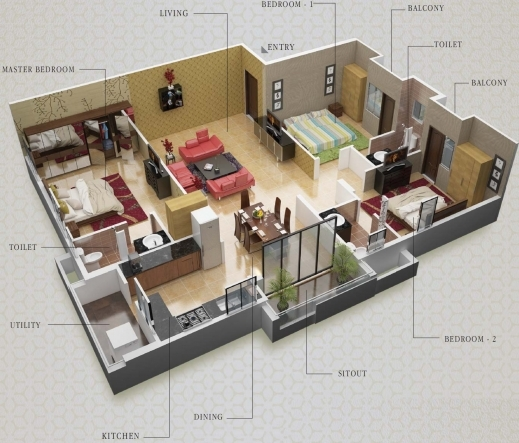 Fascinating Dharma Construction Residency Floor Plan 3bhk3t 1795 Sq Ft 3 Bedroom House Plans With Pooja Room Image