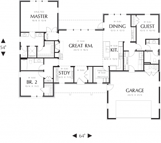 Fascinating Ranch House Plan With 3 Bedrooms And 35 Baths Plan 3153 3 Bedroom Floor House Plan With All Dimensions Photos