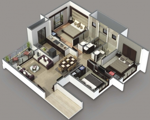 Gorgeous 3 Bedroom House Plans 3d Design Artdreamshome 2 And Bathroom 4 Room House Planning 3D Photo